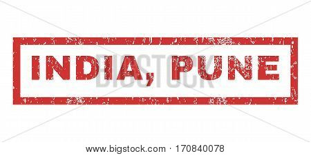 India Pune text rubber seal stamp watermark. Tag inside rectangular shape with grunge design and unclean texture. Horizontal vector red ink sticker on a white background.
