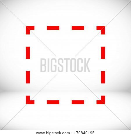 square dashed line icon stock vector illustration flat design