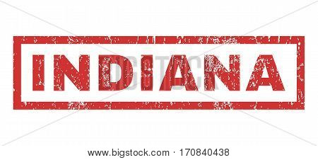 Indiana text rubber seal stamp watermark. Tag inside rectangular shape with grunge design and dirty texture. Horizontal vector red ink emblem on a white background.