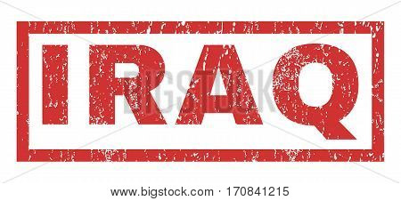 Iraq text rubber seal stamp watermark. Tag inside rectangular shape with grunge design and dust texture. Horizontal vector red ink sign on a white background.