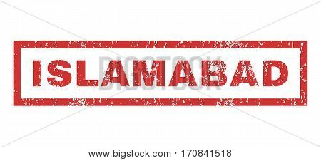 Islamabad text rubber seal stamp watermark. Tag inside rectangular shape with grunge design and unclean texture. Horizontal vector red ink emblem on a white background.
