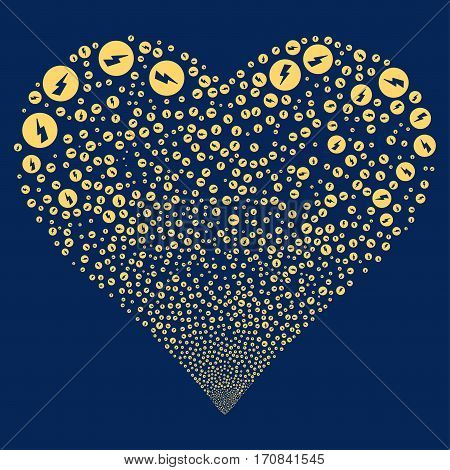 Electricity fireworks with heart shape. Vector illustration style is flat yellow iconic symbols on a blue background. Object salute created from scattered pictographs.