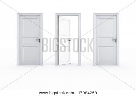3d rendering of 3 doors on a row with the middle door open