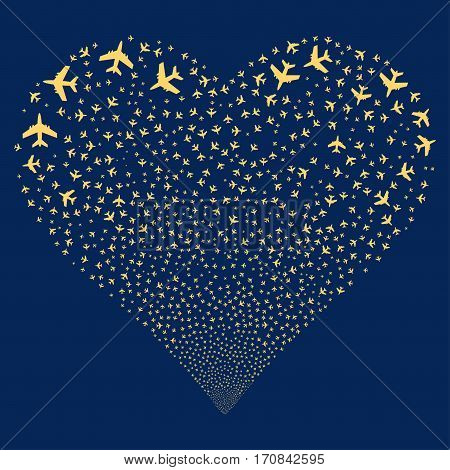 Jet Plane fireworks with heart shape. Vector illustration style is flat yellow iconic symbols on a blue background. Object stream made from scattered pictograms.