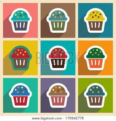 Set flat icons with long shadow celebratory cake