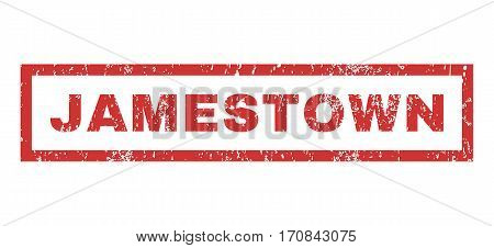 Jamestown text rubber seal stamp watermark. Caption inside rectangular banner with grunge design and dirty texture. Horizontal vector red ink sticker on a white background.
