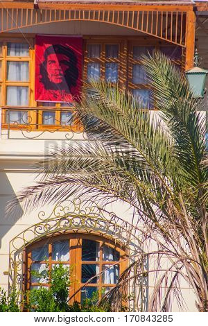 SHARM EL SHEIKH EGYPT - JULY 9 2009. house with a portrait of Che Guevara.
