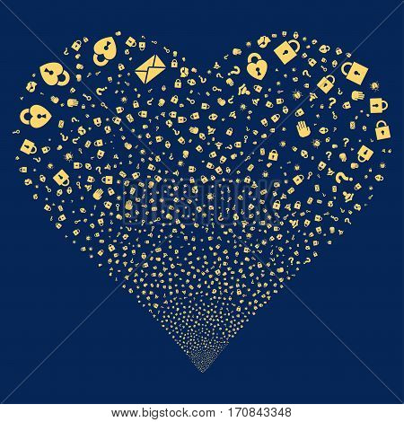 Secrecy Symbols fireworks with heart shape. Vector illustration style is flat yellow iconic symbols on a blue background. Object love heart done from confetti icons.