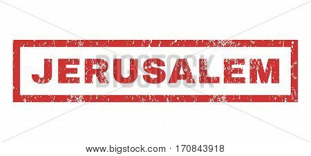 Jerusalem text rubber seal stamp watermark. Caption inside rectangular shape with grunge design and scratched texture. Horizontal vector red ink sticker on a white background.