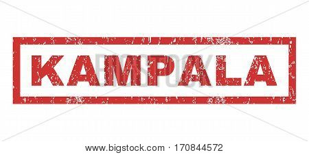 Kampala text rubber seal stamp watermark. Tag inside rectangular shape with grunge design and unclean texture. Horizontal vector red ink emblem on a white background.