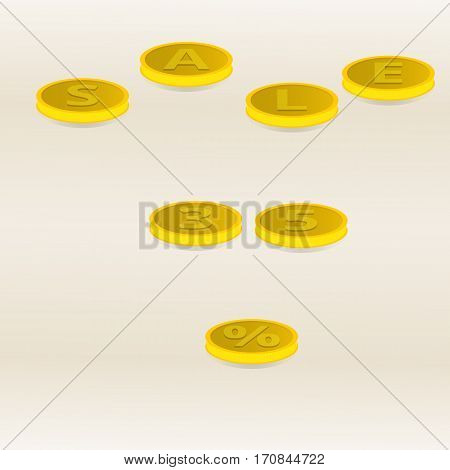 Vector illustration inscription gold coins sale and thirty-five percent on a light yellow background.