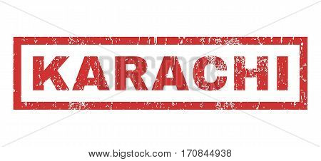 Karachi text rubber seal stamp watermark. Caption inside rectangular shape with grunge design and dirty texture. Horizontal vector red ink emblem on a white background.