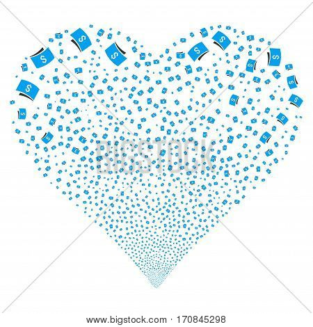 Banknotes fireworks with heart shape. Vector illustration style is flat blue and gray iconic symbols on a white background. Object salute made from scattered icons.