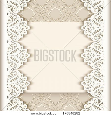 Vintage greeting card with lace border decoration, cutout paper background, wedding invitation or announcement template