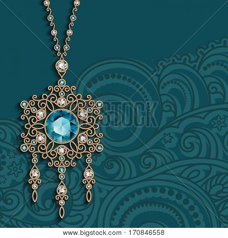 Vintage gold jewelry pendant with diamonds and emerald gemstones, antique jewellery women's decoration on ornamental background, elegant greeting card or invitation template