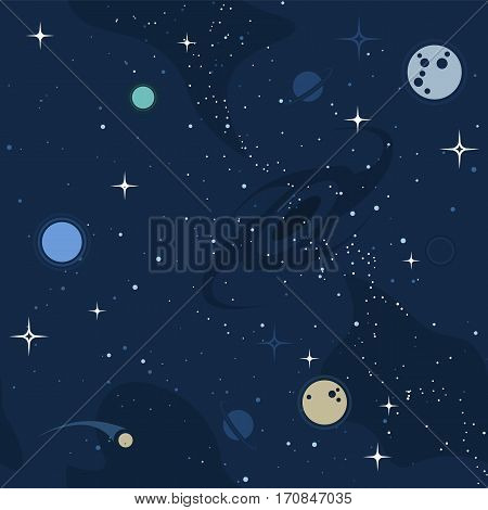 Vector flat space seamless pattern background. Cute template with Moon Black Hole Stars in Outer space