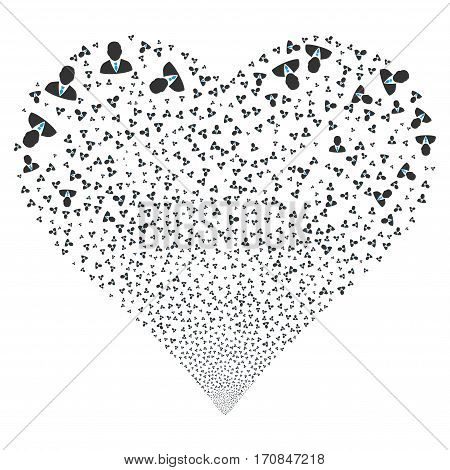 Manager fireworks with heart shape. Vector illustration style is flat blue and gray iconic symbols on a white background. Object stream constructed from scattered icons.