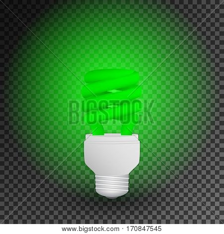 Fluorescent green economical light bulb glowing on a transparent background. Save energy lamp. Realistic vector illustration.