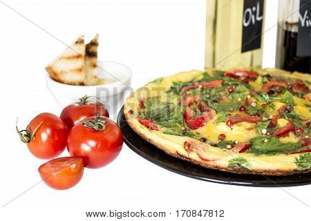 Omelette or omelet is a dish made from beaten eggs quickly fried with butter or oil in a frying pan.