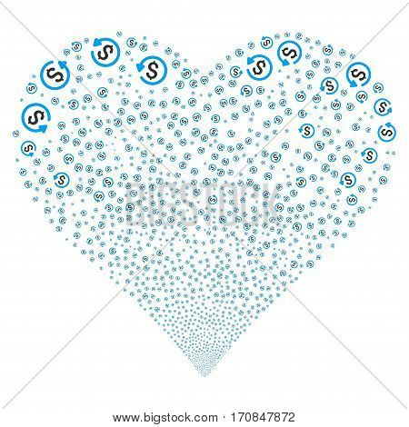 Refund fireworks with heart shape. Vector illustration style is flat blue and gray iconic symbols on a white background. Object valentine heart constructed from random symbols.