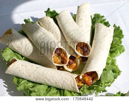 Tortilla Wraps With Roasted Chicken Fillet And Bean