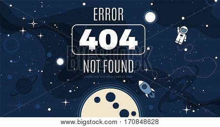 Vector flat cosmos design background with Error 404 page not found text. Cute template with Astronaut Spaceship Rocket Moon Black Hole Stars in Outer space