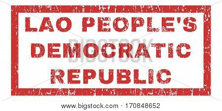 Lao People S Democratic Republic text rubber seal stamp watermark. Caption inside rectangular banner with grunge design and dirty texture. Horizontal vector red ink sign on a white background.