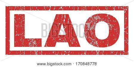 Lao text rubber seal stamp watermark. Tag inside rectangular banner with grunge design and dust texture. Horizontal vector red ink emblem on a white background.