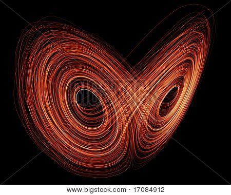3d rendering of a Lorenz Attractor fractal in orange on black background