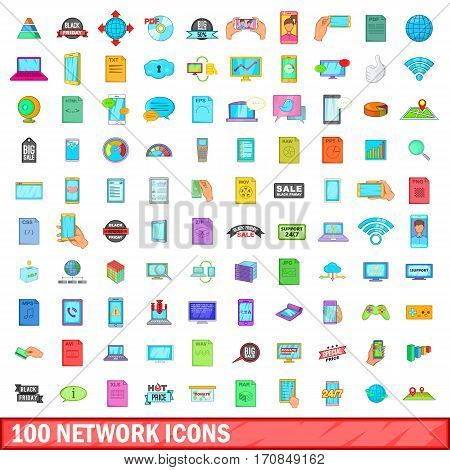 100 network icons set in cartoon style for any design vector illustration