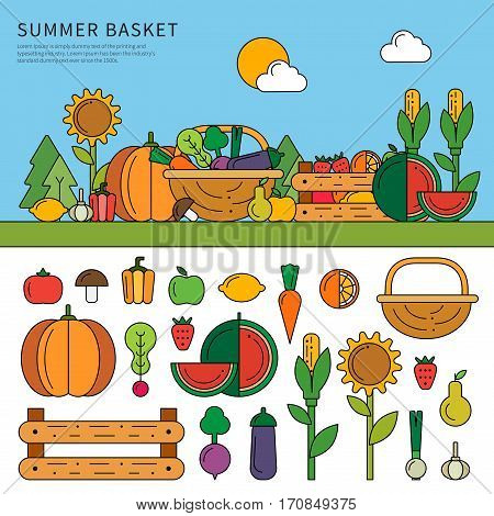 Thin line flat design of the basket with vitamins. Fruits and vegetables on the kitchen-garden on a sunny day. Fruit and vegetable icons isolated on white background