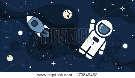 Vector flat cosmos design background. Cute template with Astronaut Rocket Moon Stars in Outer space
