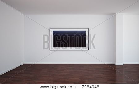 3d rendering of an empty room with a blank painting on the wall, which can easily be switched out with your own image.