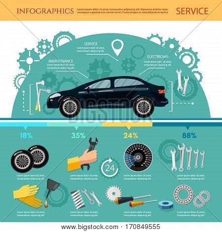 Car service infographic mechanic tool tuning diagnostics tire service car repair