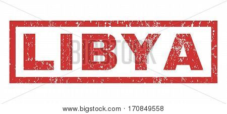Libya text rubber seal stamp watermark. Caption inside rectangular banner with grunge design and dirty texture. Horizontal vector red ink emblem on a white background.