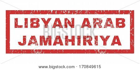 Libyan Arab Jamahiriya text rubber seal stamp watermark. Caption inside rectangular shape with grunge design and unclean texture. Horizontal vector red ink sticker on a white background.