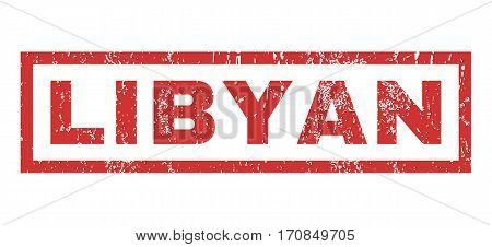 Libyan text rubber seal stamp watermark. Caption inside rectangular banner with grunge design and dust texture. Horizontal vector red ink sign on a white background.