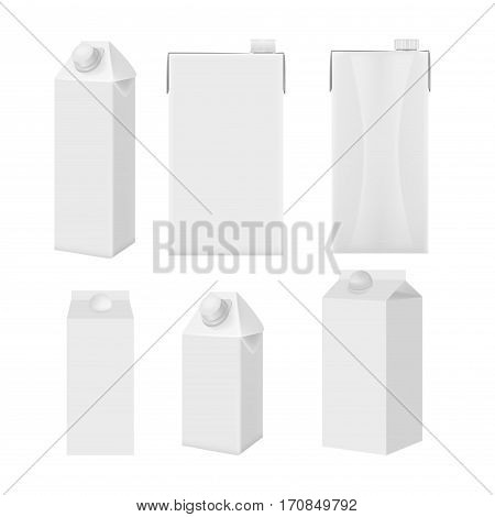Milk and juice white carton package boxes set in different points of view. Object package product milk, carton box package juice blank illustration vector template collection