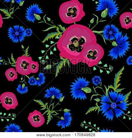 Abstract Floral seamless pattern with red poppies and blue cornflowers.Bright flowers on a black background.Summer vector illustration. Can be used for print textile, fabric, wrapping paper.