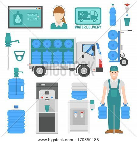 Water delivery set of design elements. Drink bottle plastic blue container business service. Mineral liquid worker job industry. Fresh cooler big clean pure beverage vector.
