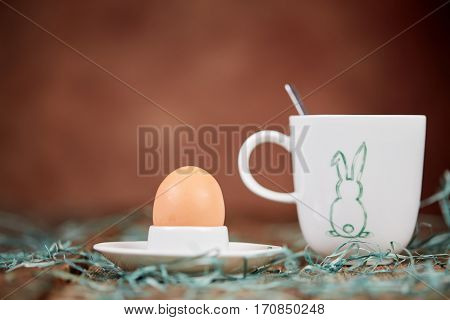 Egg In Eggcup And Cup Of Coffee For Breakfast