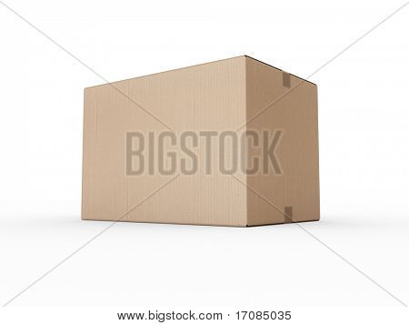 3d rendering of a closed cardboard box