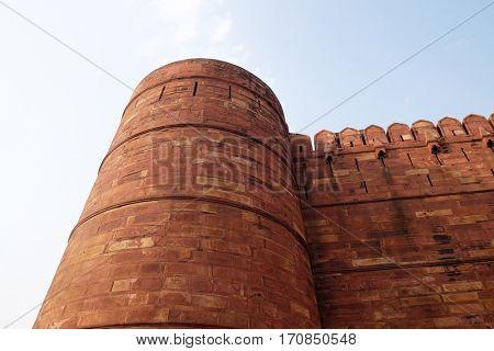 AGRA, INDIA - FEBRUARY 14 : Red Agra Fort in Agra. Uttar Pradesh, UNESCO World heritage site, India on February, 14, 2016.