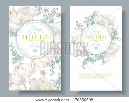 Vector spring flower banners with white tulips on white background. Elegant tender design for natural cosmetics, perfume. With place for text. Can be used as greeting card or wedding invitation