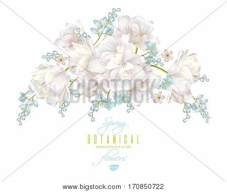 Vector spring flower round composition with tulips on white background. Elegant tender design for natural cosmetics, perfume. With place for text. Can be used as greeting card, wedding invitation