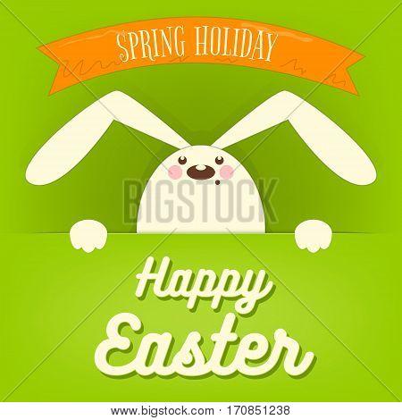 Happy Easter Rabbit Bunny on Green Background. Vector Illustration.