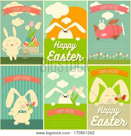 Happy Easter Cards Set with Rabbits. Mini Posters Collection. Vector Illustration.