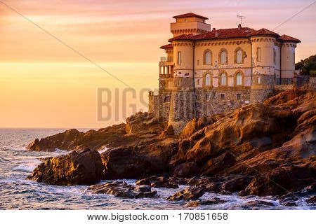 Beautiful sunset near Boccale Castle on Tuscany coast near Livorno. Italy