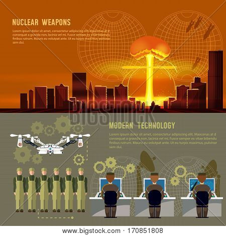 Nuclear war military technology nuclear weapons. Army control center nuclear attack on a city. Confrontation between the superpowers