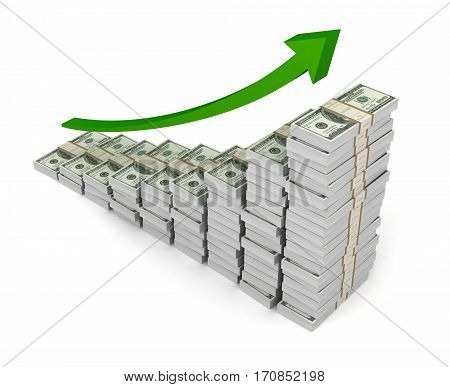 money graph 3d illustration on white background